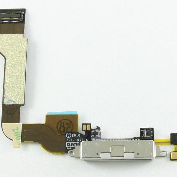 Шлейф для iPhone 4 с разъемом зарядки / микрофон Белый