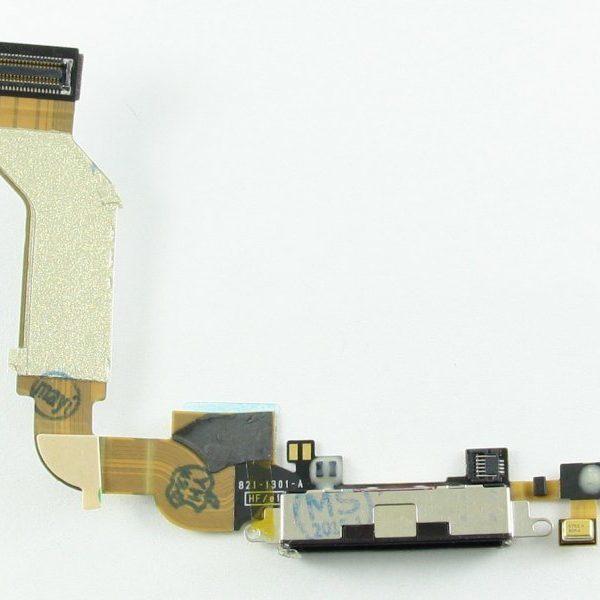 Шлейф для iPhone 4S с разъемом зарядки / микрофон Черный