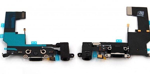 Шлейф для iPhone 5 с разъемом зарядки / разъем гарнитуры / микрофон Черный