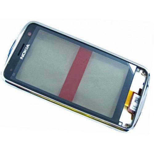 Тачскрин для Nokia C6-01 с рамкой Серебро