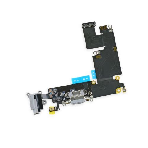 Шлейф для iPhone 6S Plus с разъемом зарядки/гарнитура/микрофон. Серый