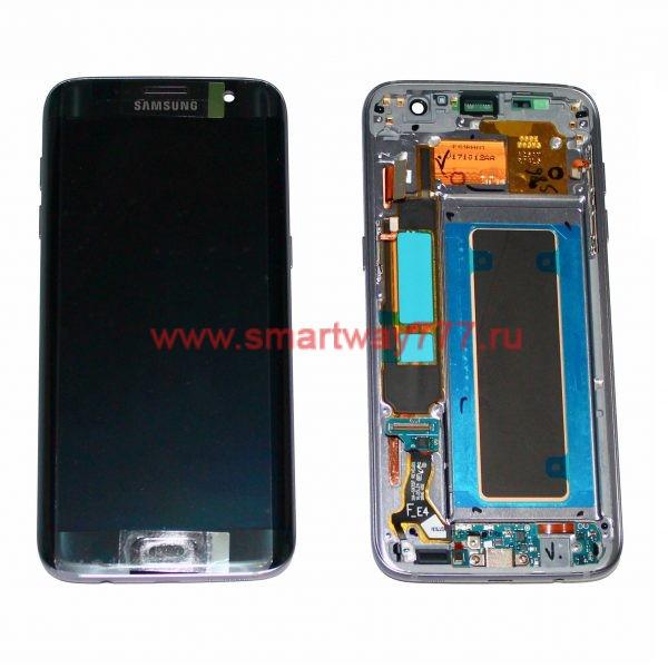 Дисплей для Samsung S7 Edge / G935F Черный+рамка+шлейф з/у (100% ОРИГИНАЛ сервис)
